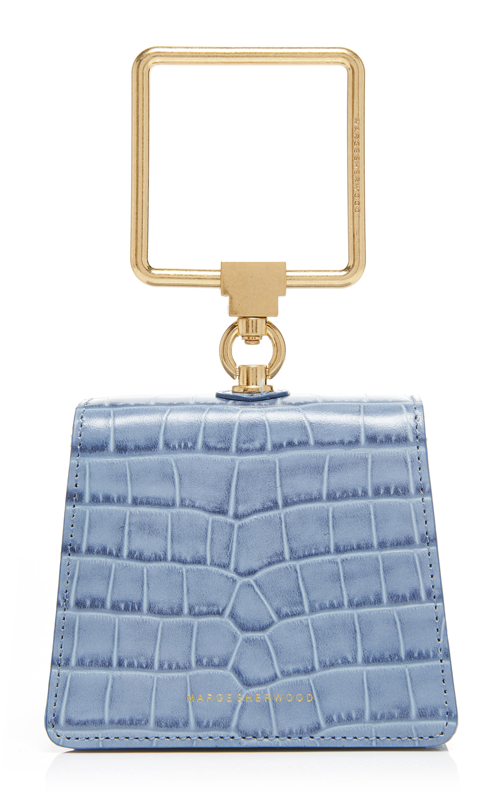 Marge Sherwood Mini Pump Croc-effect Leather Top Handle Bag In Blue