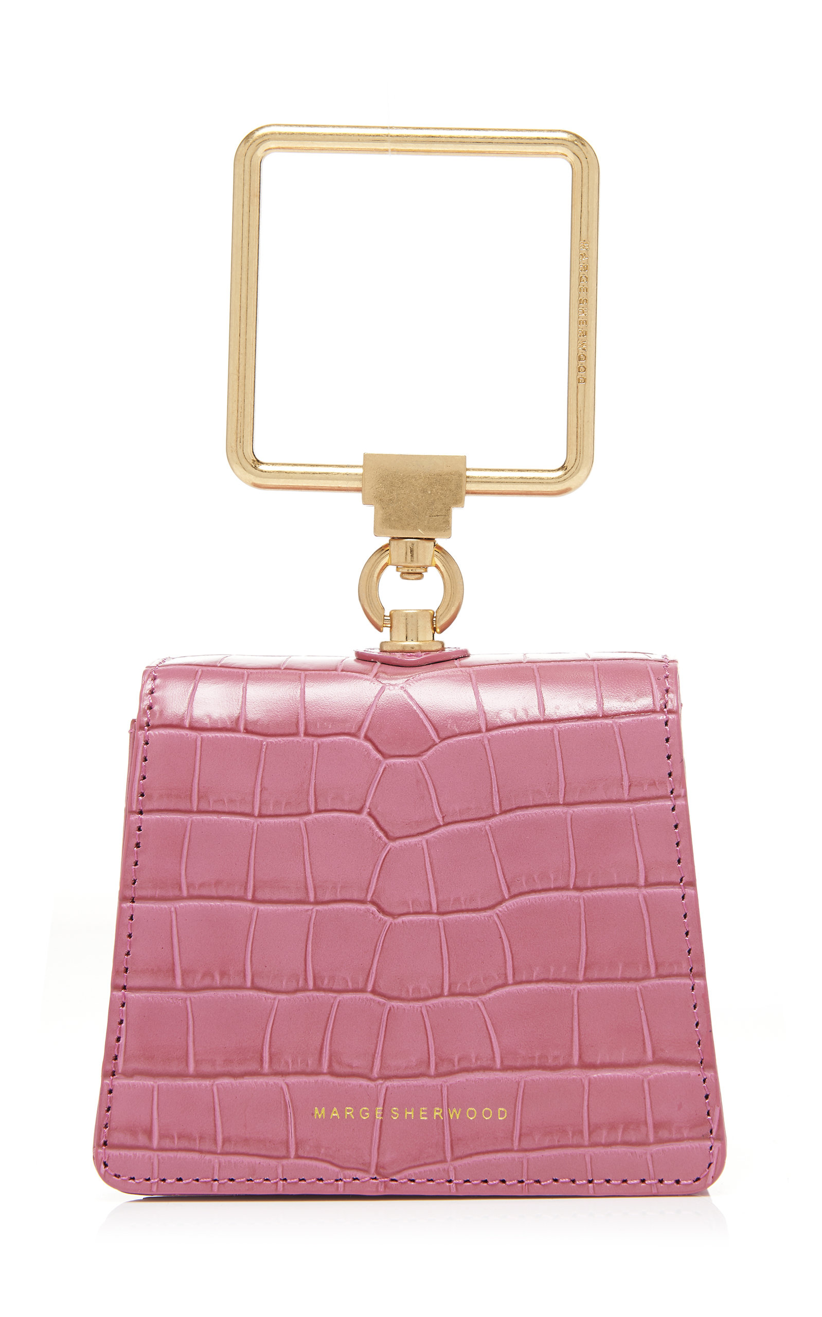 Marge Sherwood Mini Pump Croc-effect Leather Top Handle Bag In Pink