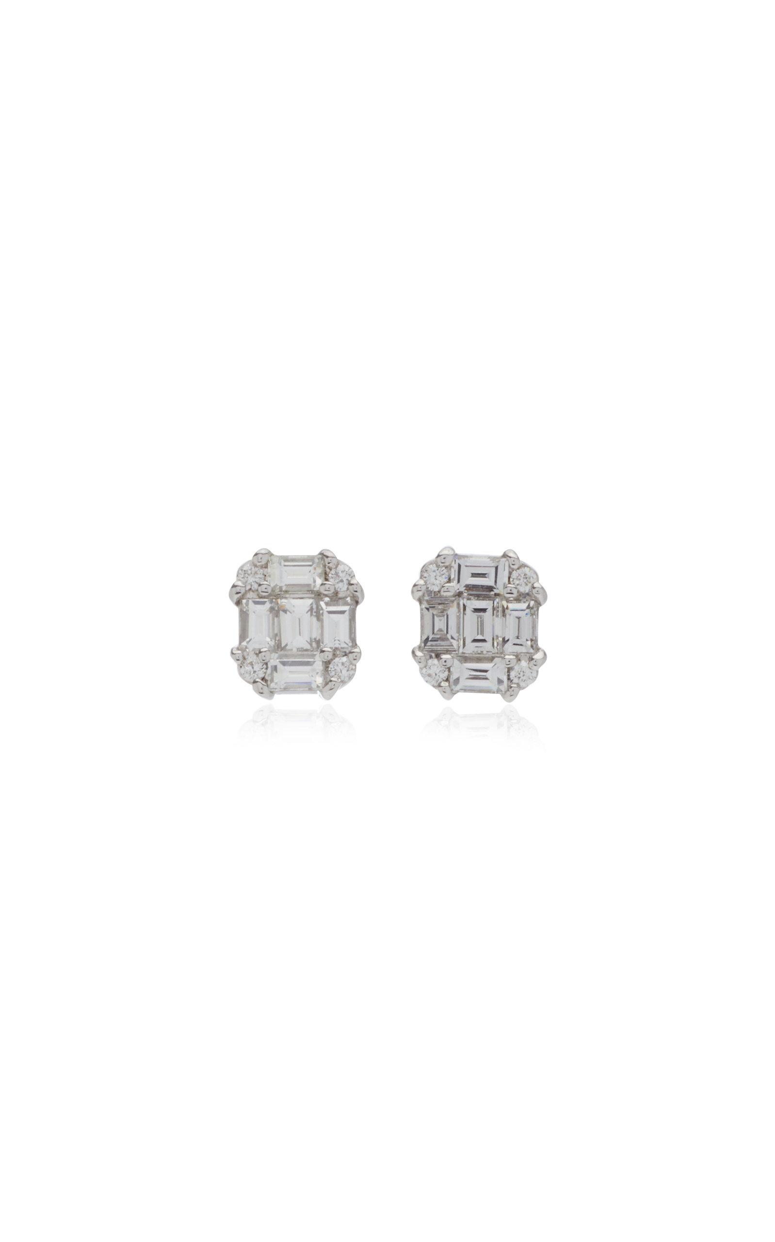 Nam Cho Invisible Diamond 18k White Gold Earrings