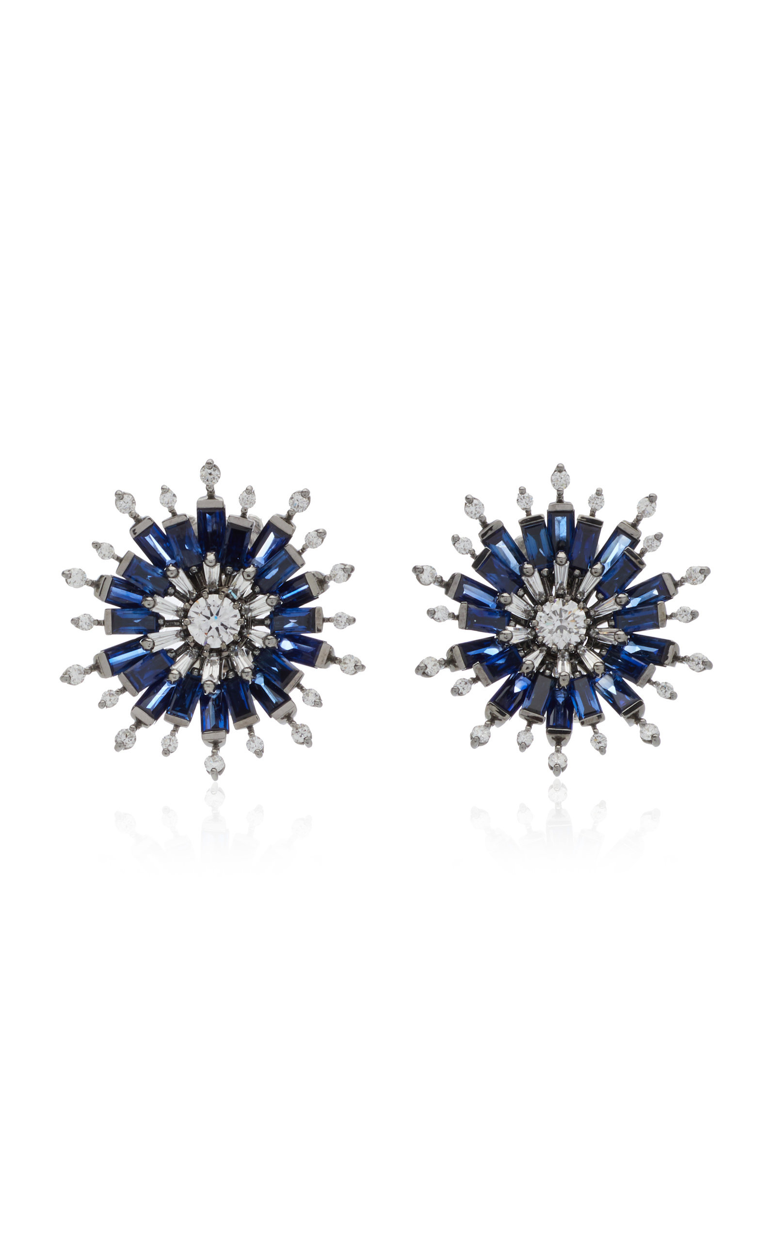 Nam Cho Flower 18k White Gold Sapphire And Diamond Earrings In Blue