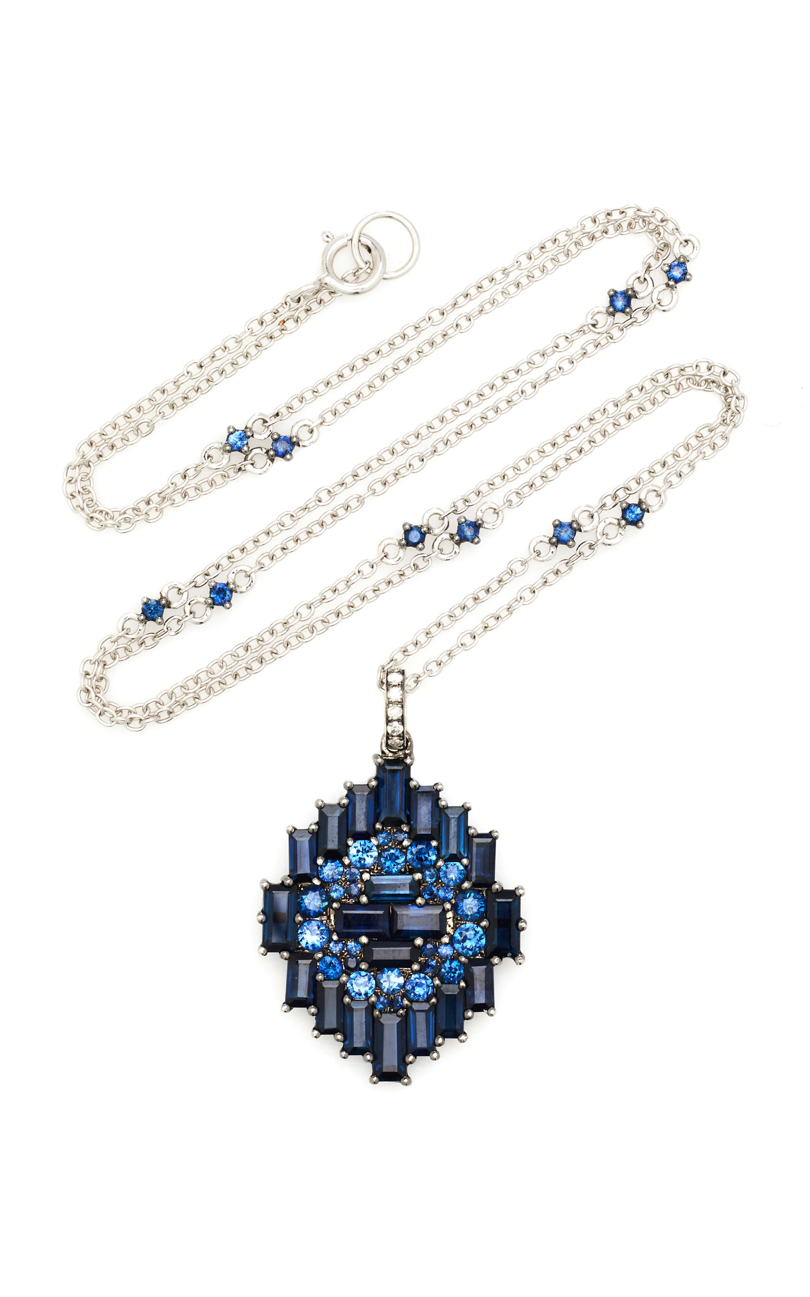 Nam Cho 18k White Gold Sapphire And Diamond Necklace In Blue