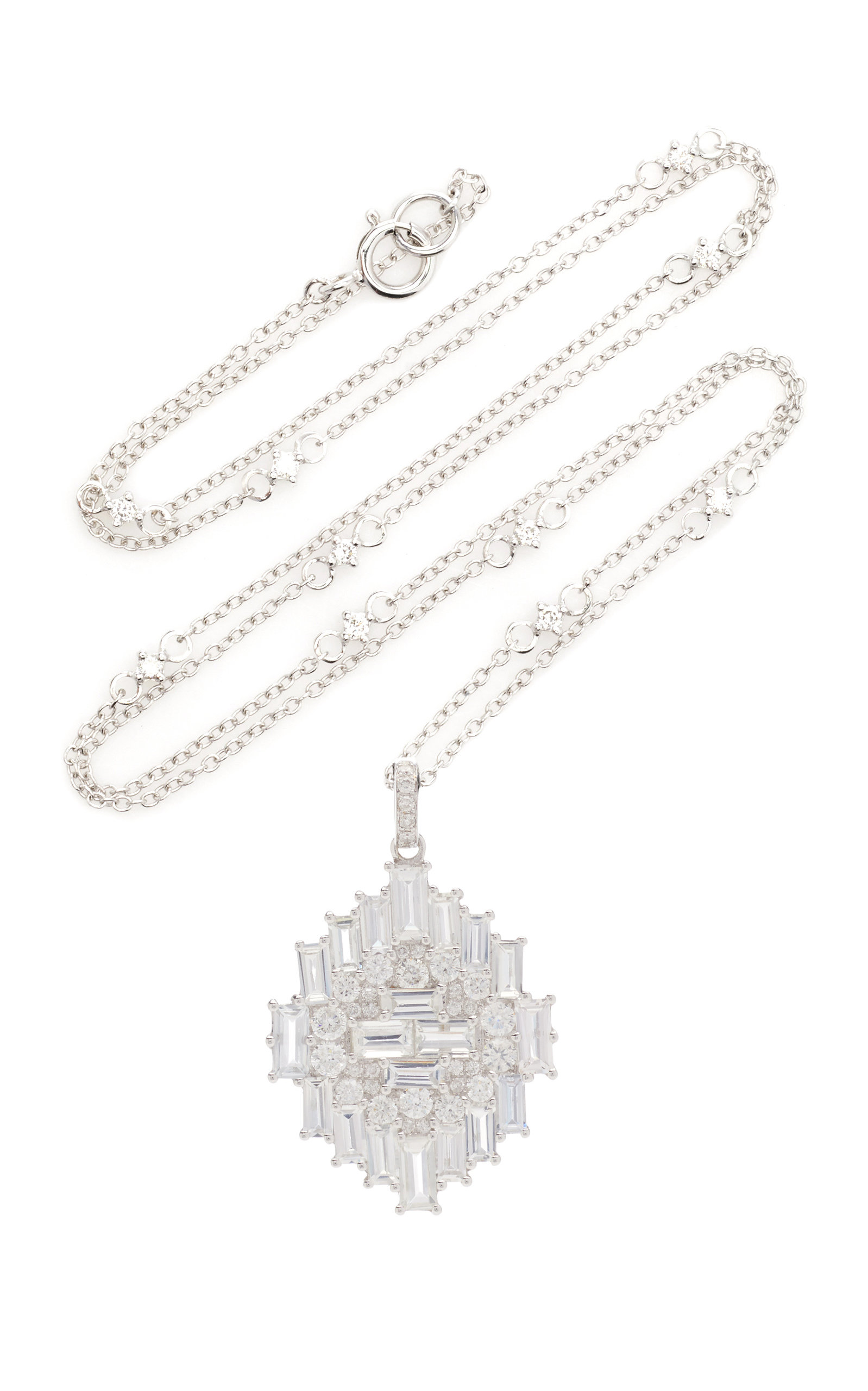 Nam Cho 18k White Gold Sapphire And Diamond Necklace