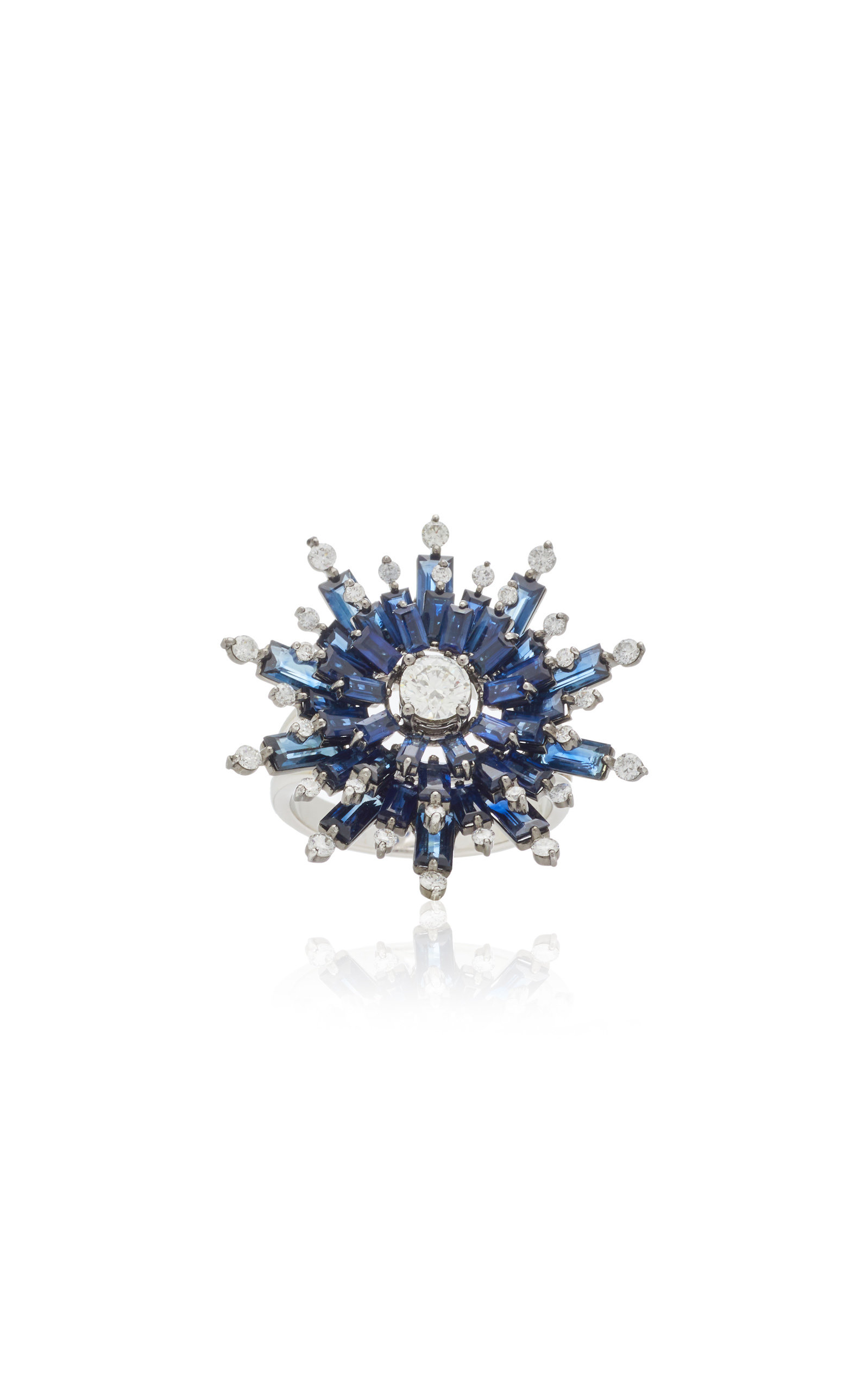 Nam Cho 18k White Gold Sapphire And Diamond Ring In Blue