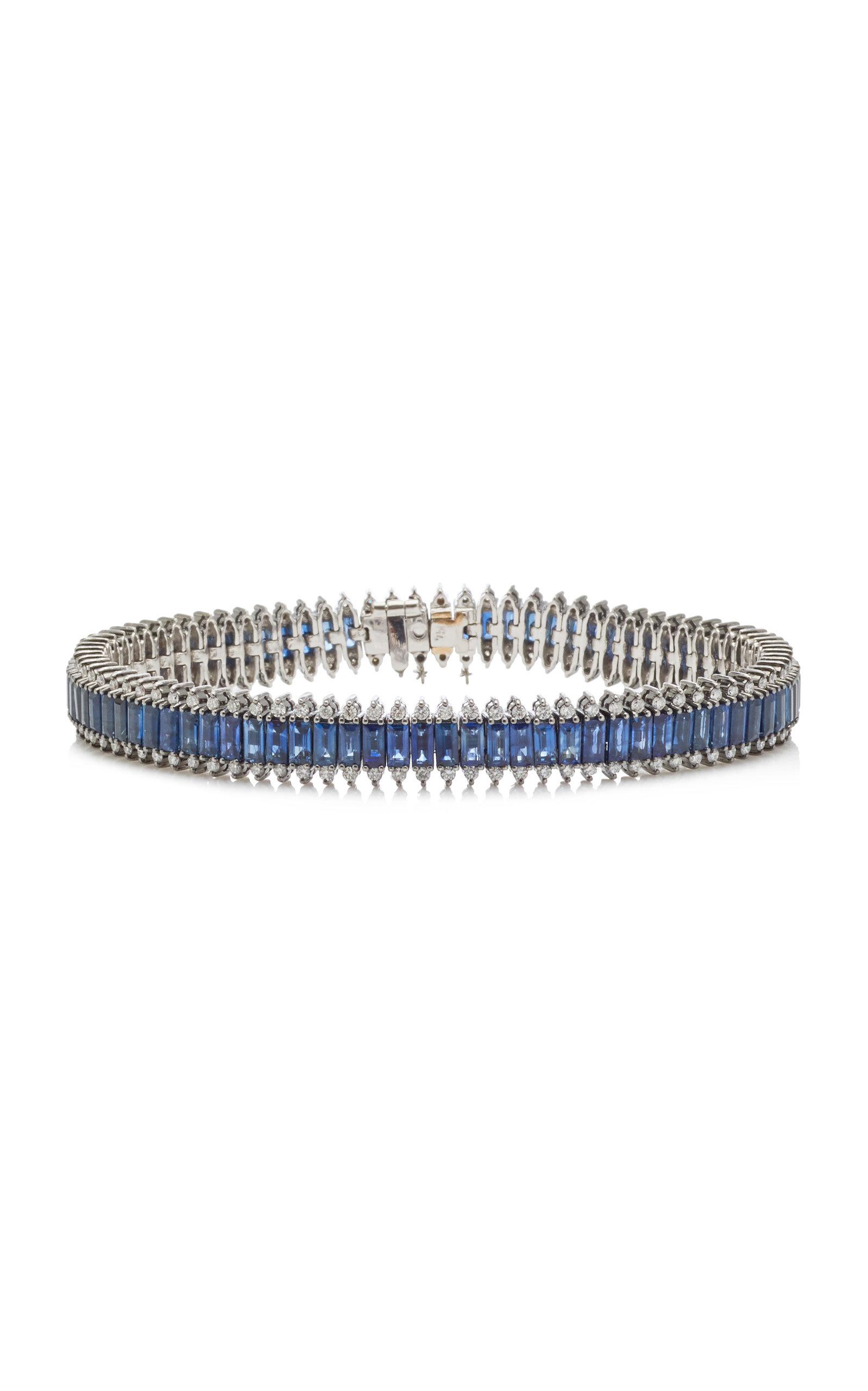 Nam Cho 18k White Gold Black Rhodium Diamond And Sapphire Bracelet In Blue