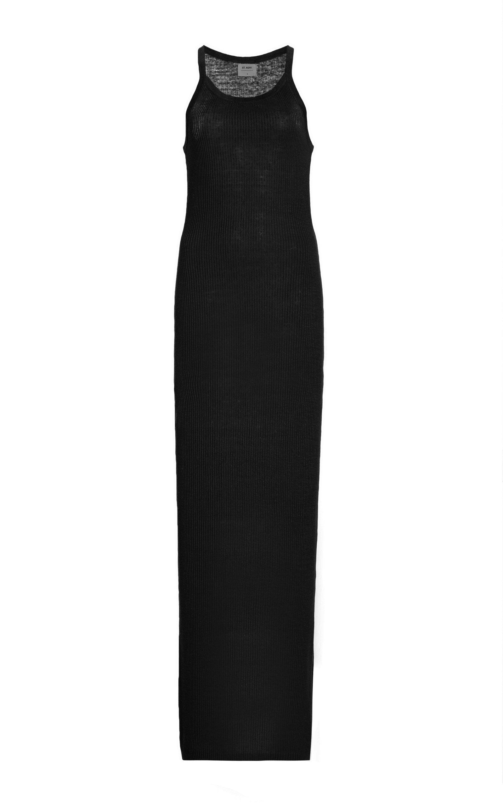 St. Agni Iman Ribbed-knit Linen Maxi Tank Dress In Black