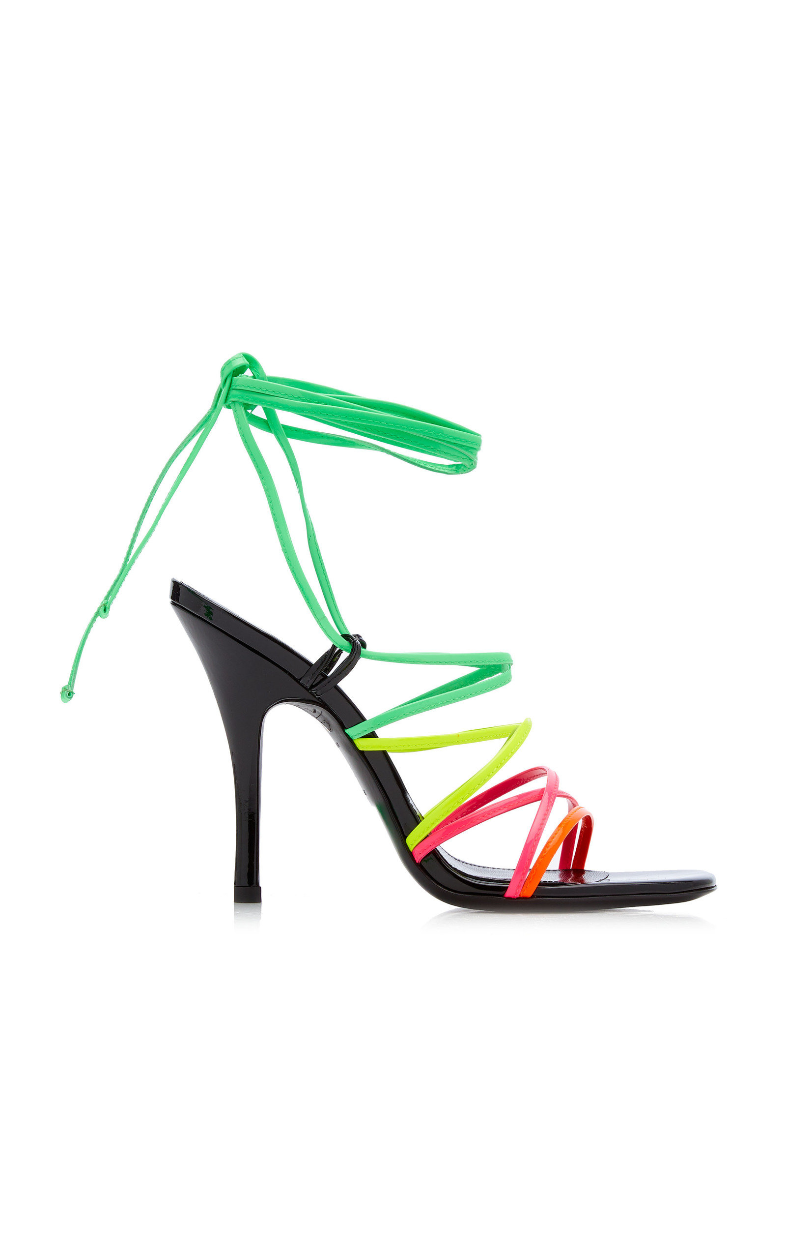 Attico Leathers LACE-UP PATENT LEATHER SANDALS