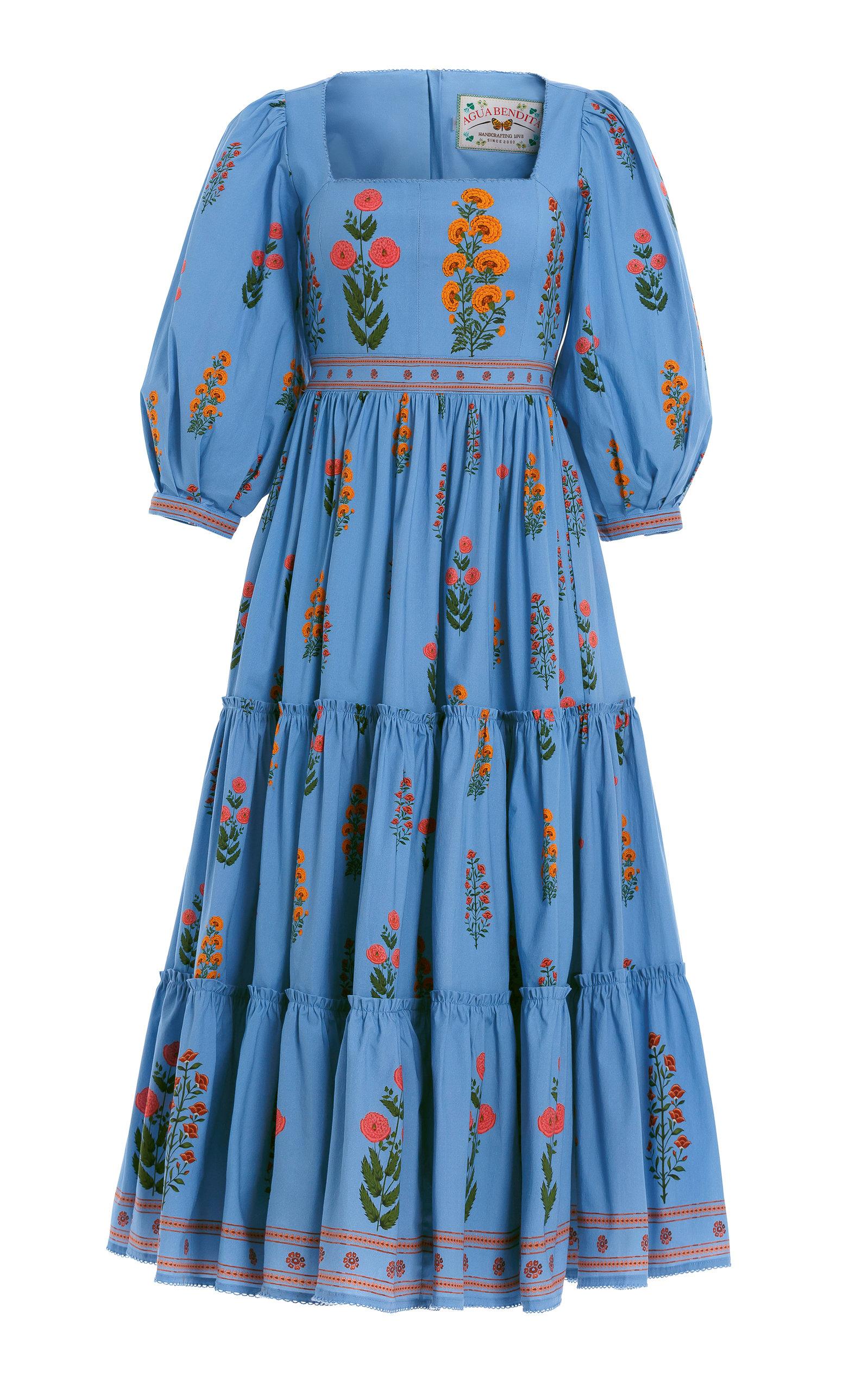 Agua By Agua Bendita Women's The Wallflowers Miel Dahlia Embroidered Puff-sleeve Dress In Blue