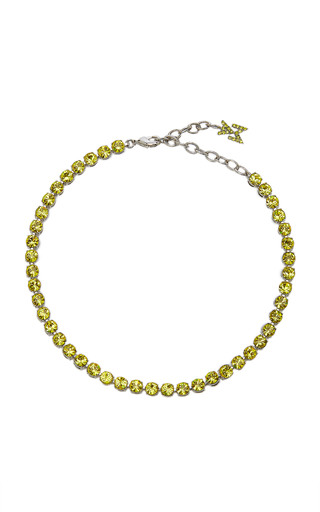 Amina Muaddi Women's Crystal-embellished Tennis Anklet In Yellow