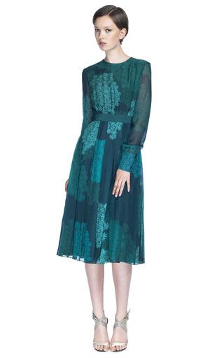 Medium giambattista valli green printed pleated dress 2