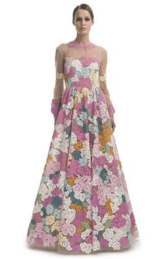 Medium valentino multi long sleeve floral gown