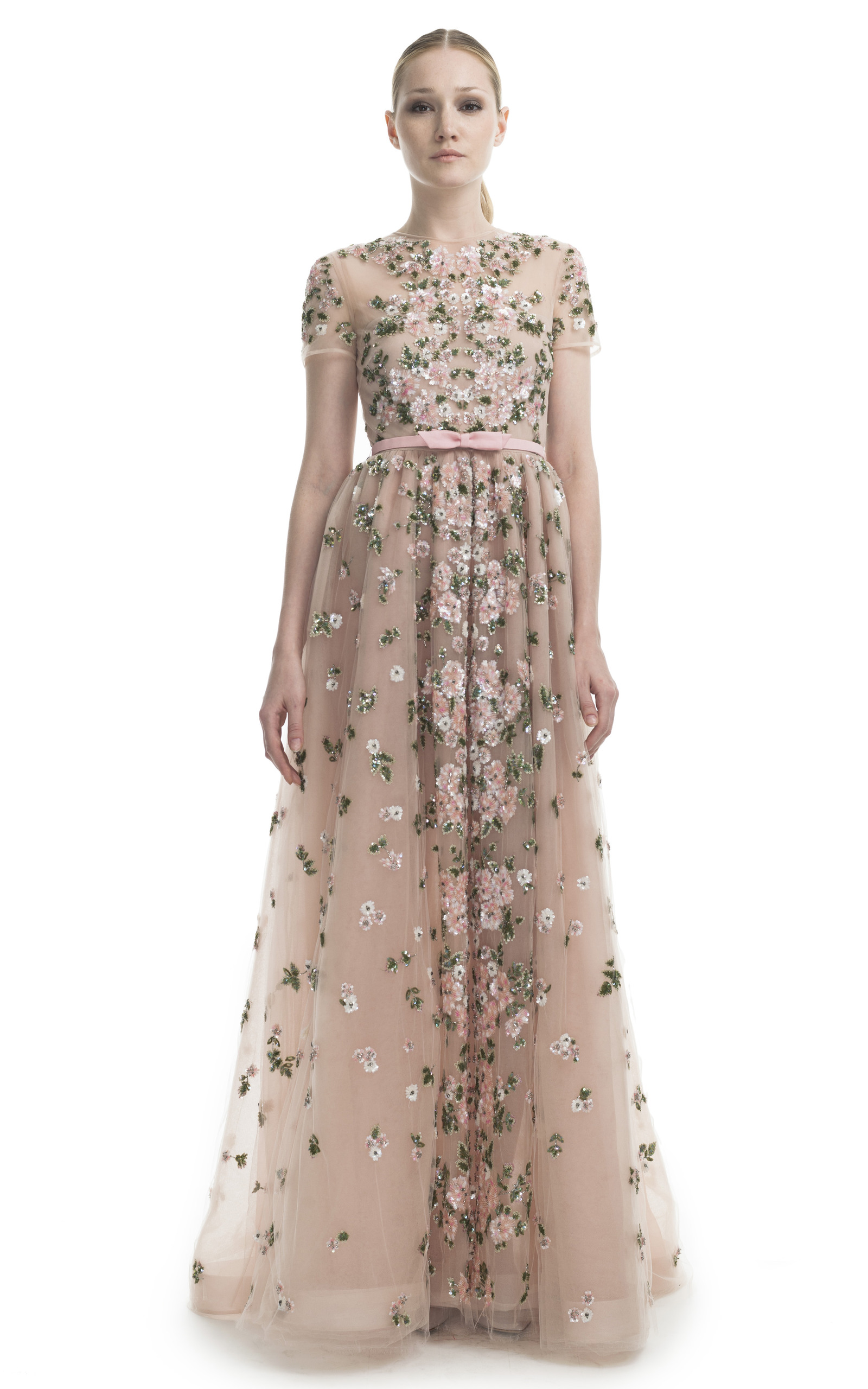 Floral embroidered short sleeve evening gown by moda