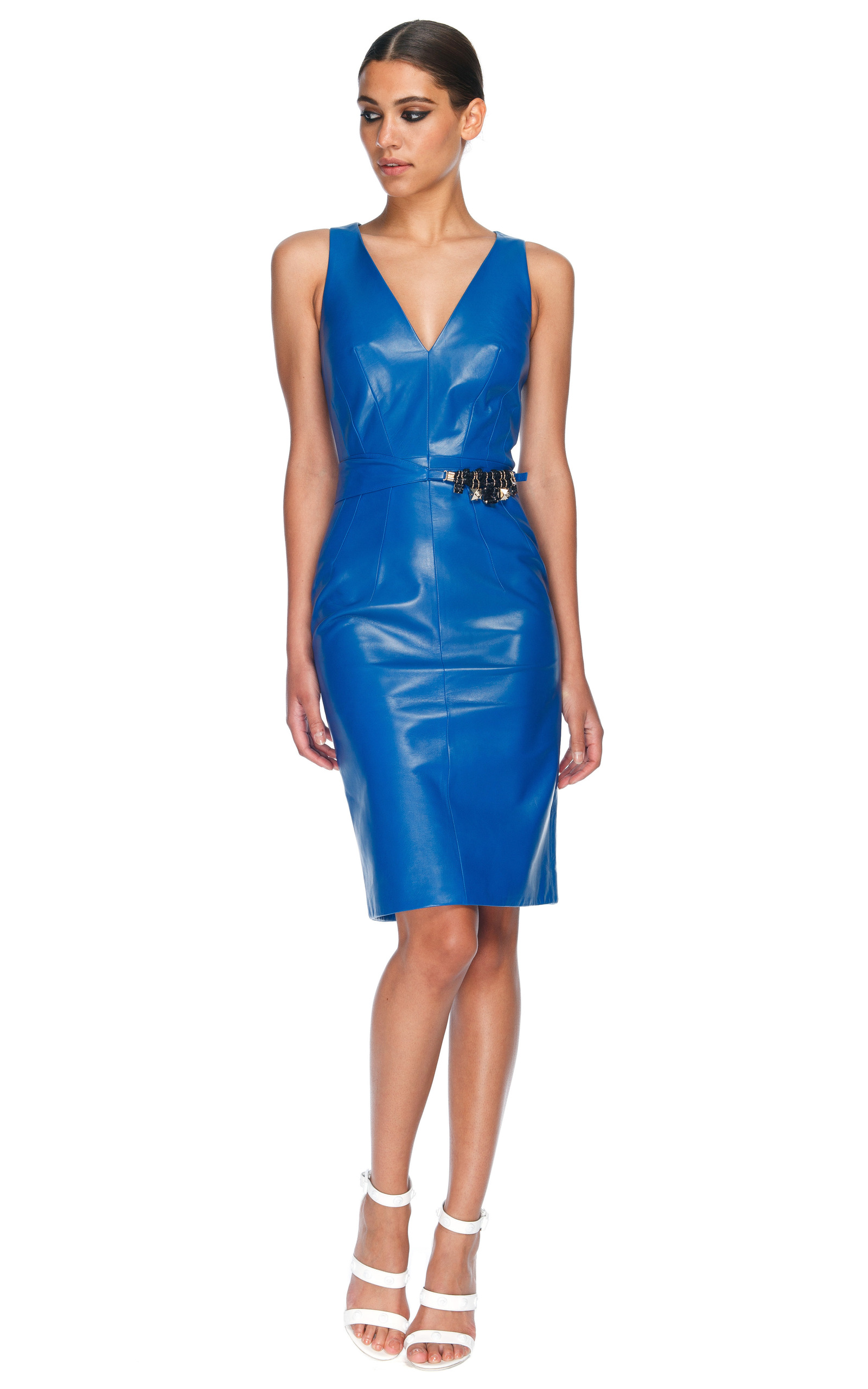 Cobalt Blue Leather Dress by Versace