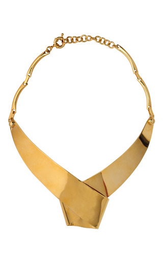 Medium vionnet gold wrapped ribbon collar necklace