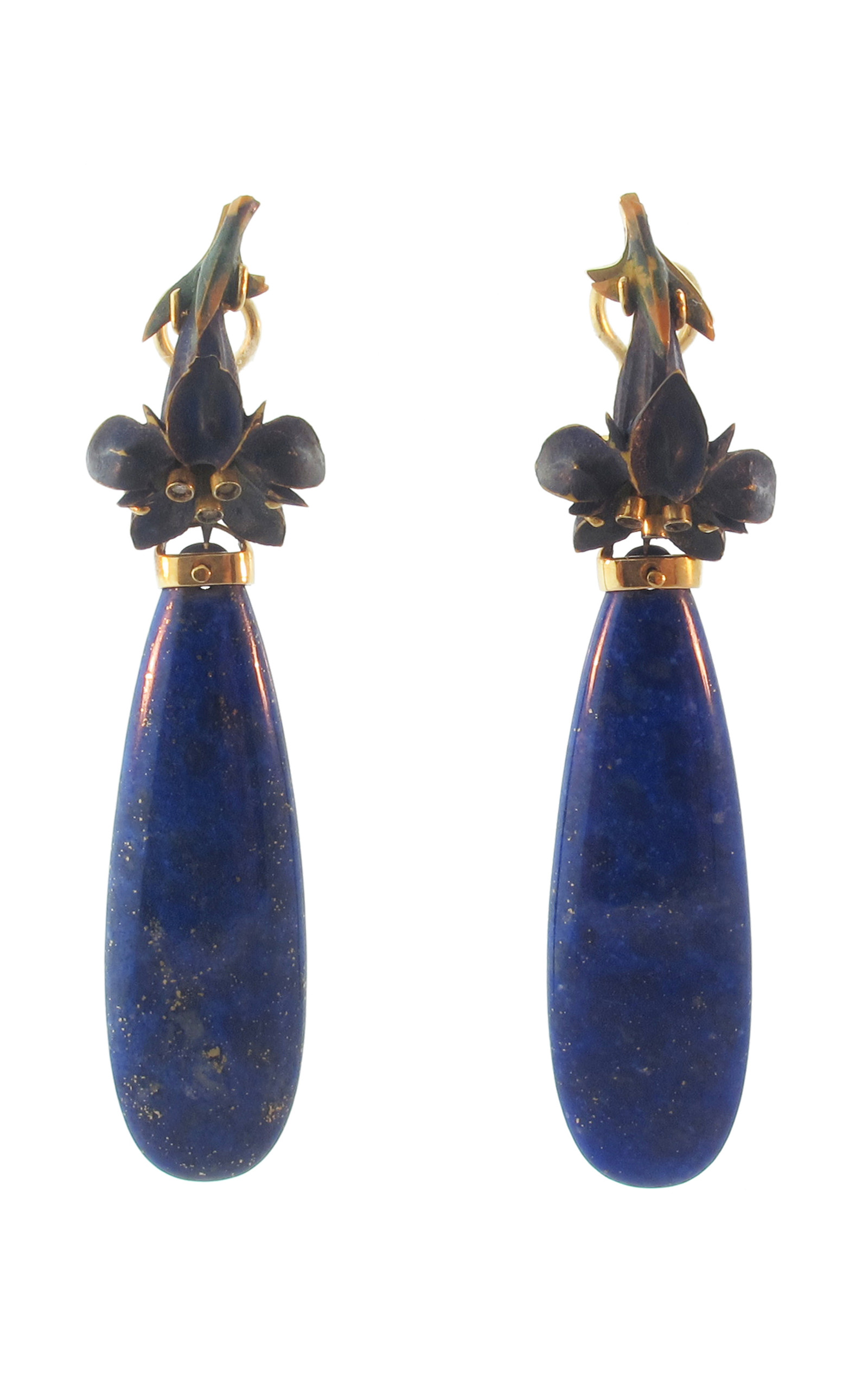 handmade lapis ants by gold lazuli earrings claw couture shop yellow jewellery four