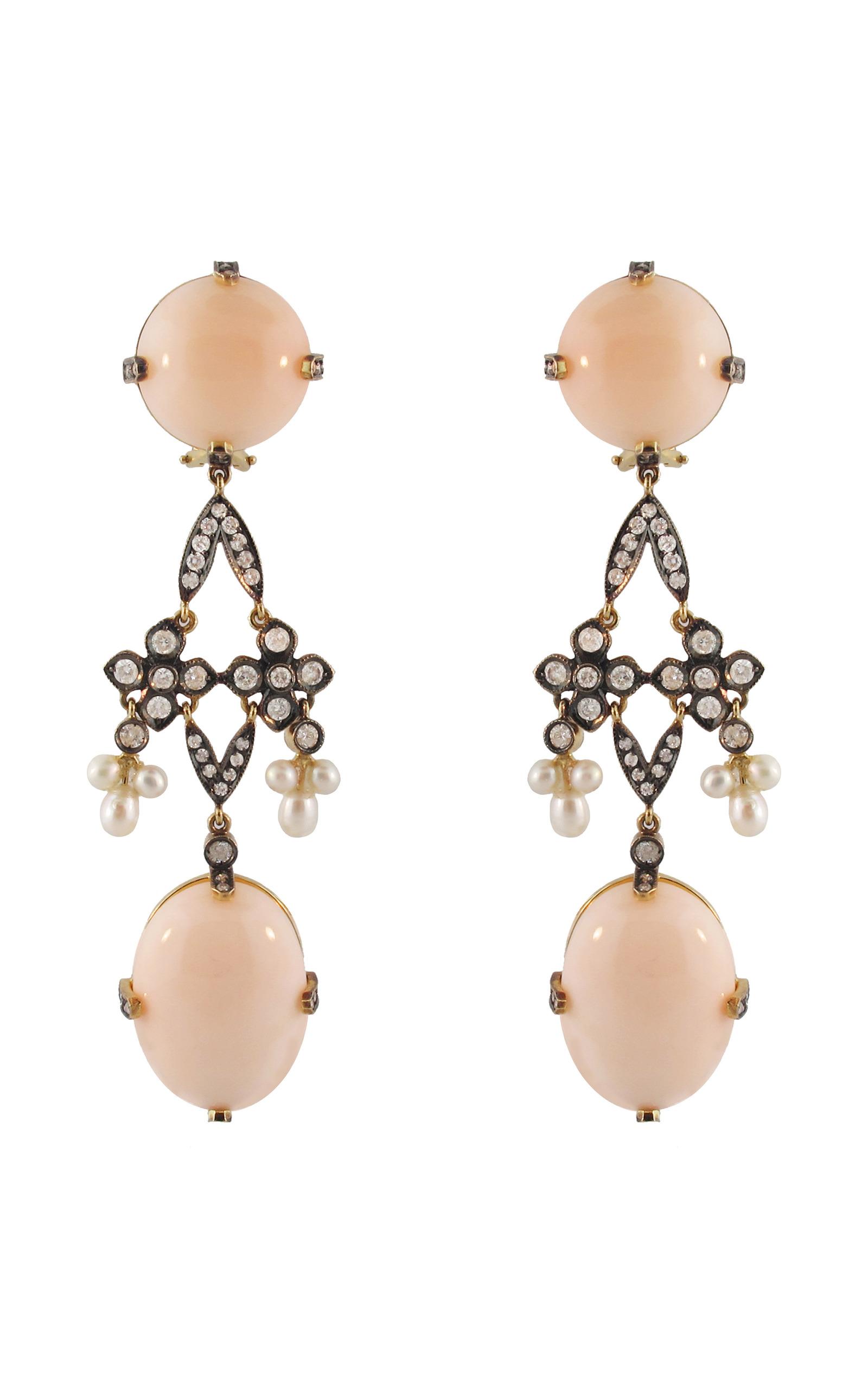 Peau D Ange Coral And Pearl Earrings By Silvia Moda Operandi