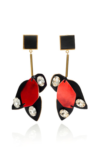 Medium marni red hot red geometric puzzle piece earrings