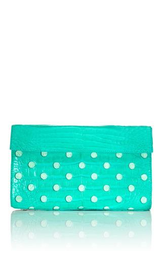 Medium nancy gonzalez light green green mint mini triangle clutch