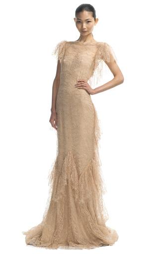 Medium marchesa gold ruffle sleeve lace gown