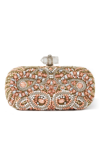 Medium marchesa coral lily embroidered clutch in coral