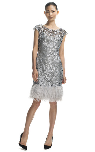 Medium marchesa dark grey embroidered sequin sheath