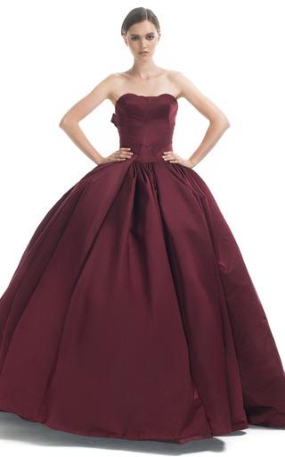 Medium zac posen burgundy sweetheart strapless princess gown
