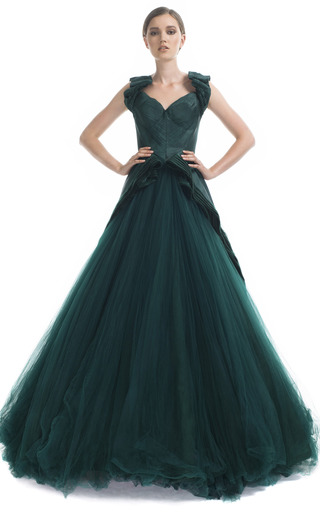 Medium zac posen green bustier princess gown