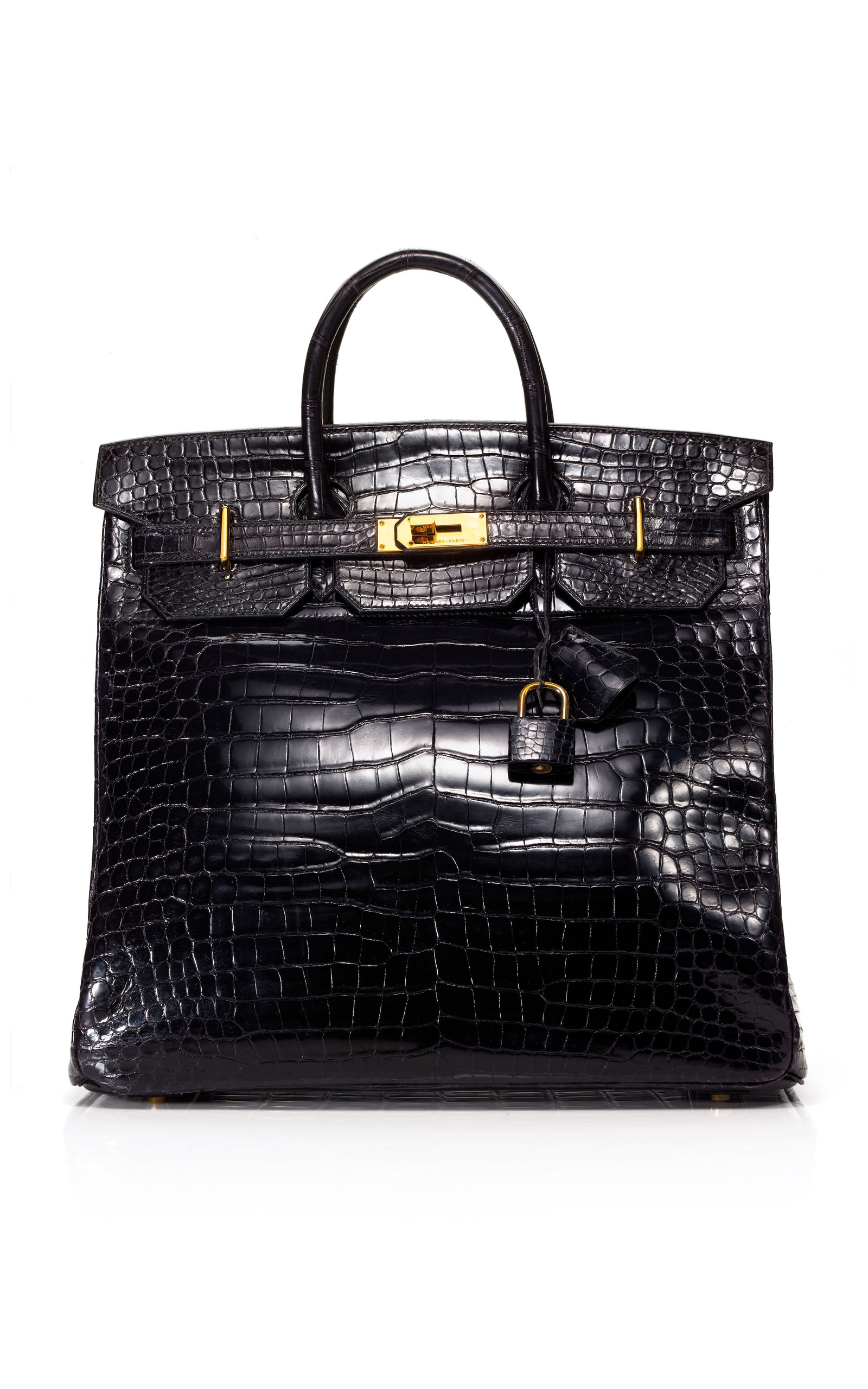 5164750eca Hermes Vintage40cm Black Shiny Porosus Crocodile HAC Birkin. CLOSE. Loading