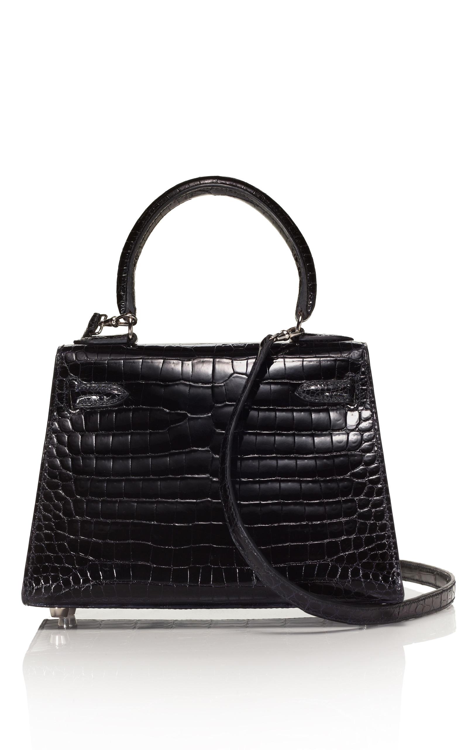 298ff3259ea1 Hermes Vintage20cm Black Shiny Porosus Crocodile Mini Kelly. CLOSE. Loading