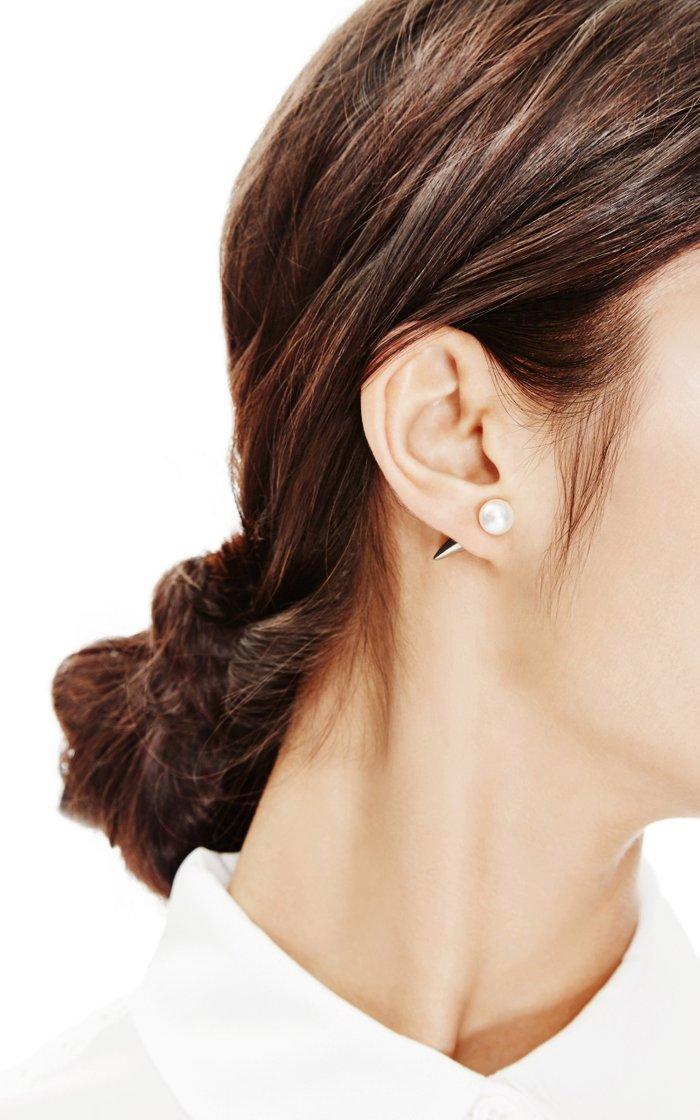 Rhodium-Plated Swarovski Crystal and Pearl Earrings