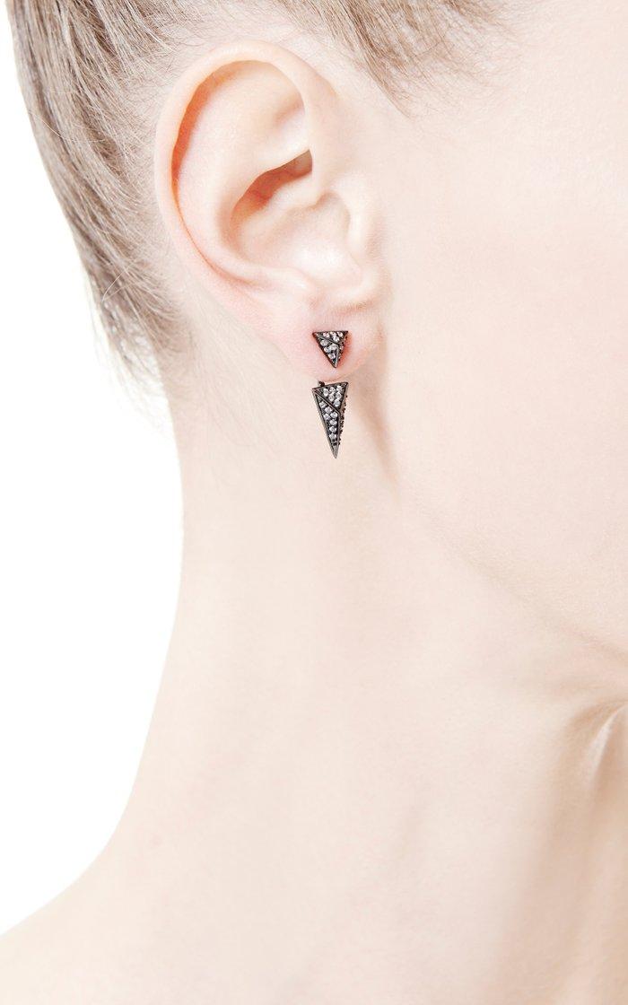 Sinead Black Crystal-Pavé Convertible Pyramid Earrings