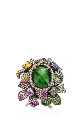 Colorful Sapphire Flower Ring