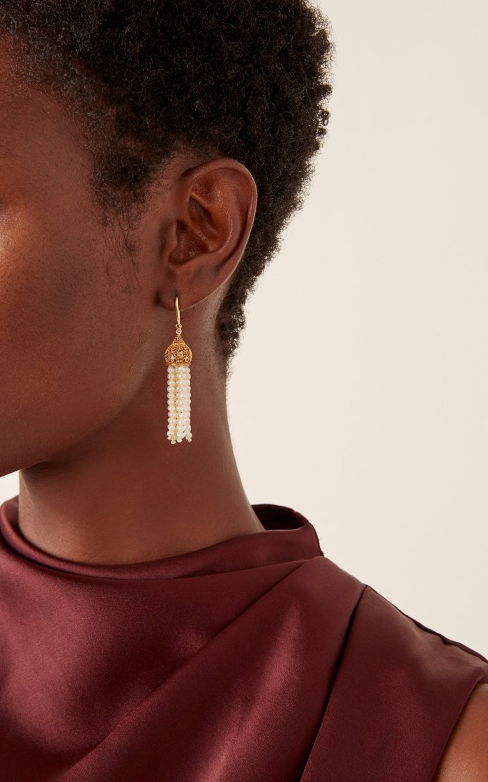 Tassel Yellow Gold And Pearl Earrings