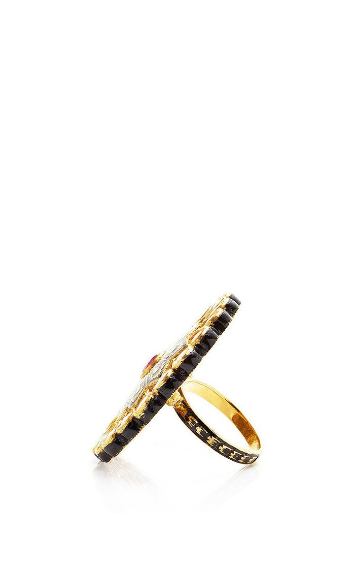 Mosaic 23K Yellow-Gold Cocktail Ring