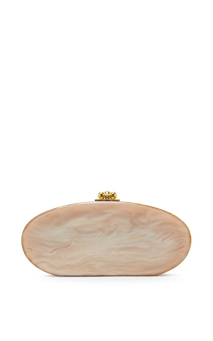Nude and Gold Confetti Oval Edie Clutch