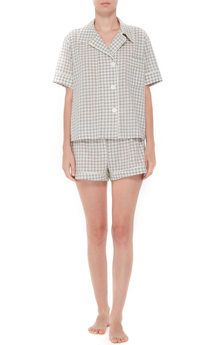 Organic Cotton Gingham Shirt and Shorts Pajama Set