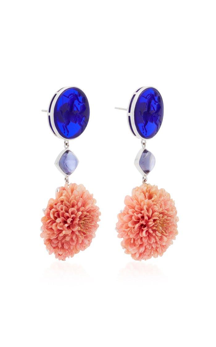 18K White Gold Dark Blue Venetian Glass Cameos Earrings
