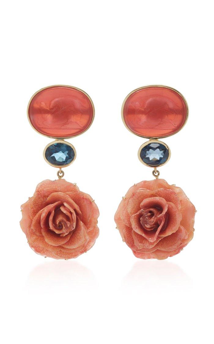 18K Yellow Gold Coral Venetian Glass Cameos Earrings
