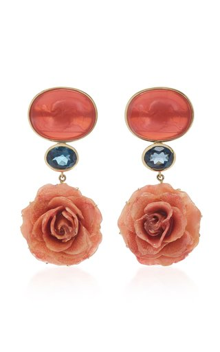 18K Yellow Gold Coral Venetian Glass Cameos Earrings