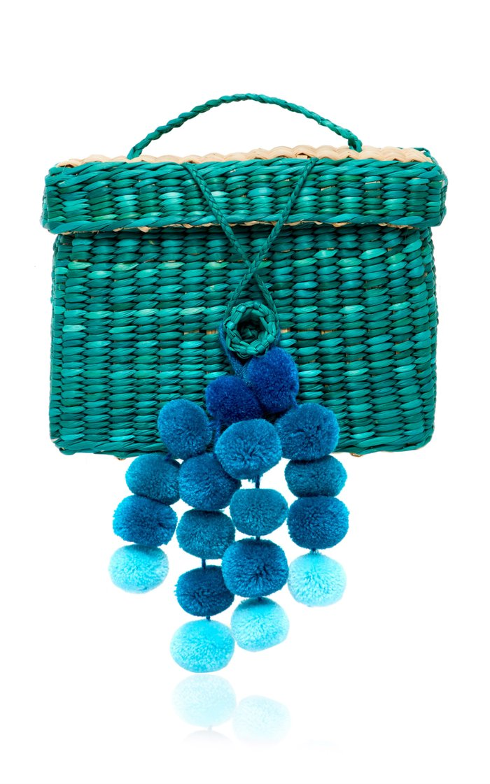 M'O Exclusive Baby Roge Pom Pom-Embellished Woven Raffia Tote