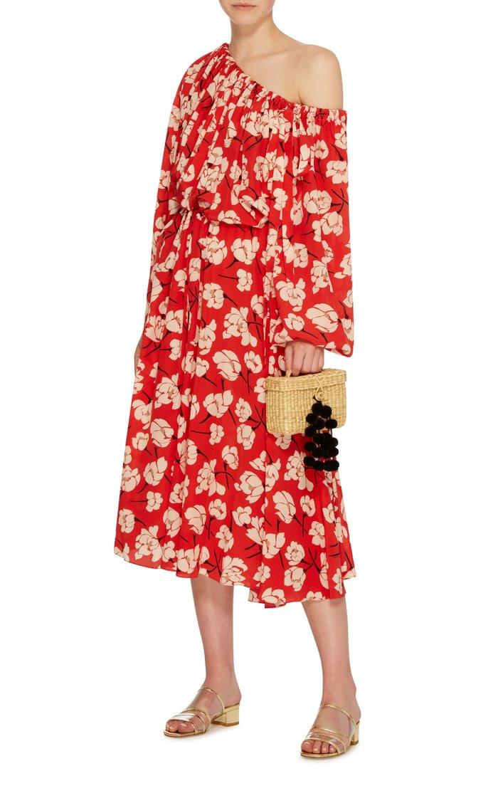 Baby Roge Pom Pom-Embellished Woven Raffia Tote
