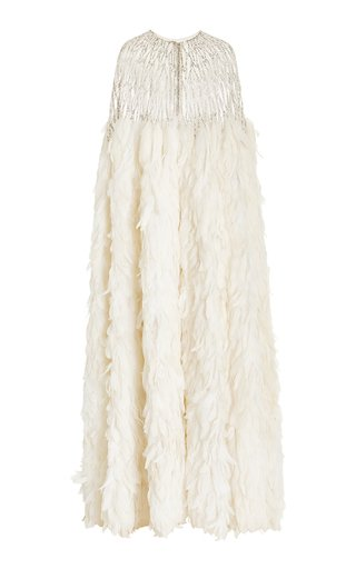Feather and Sequin-Embellished Tulle Cape