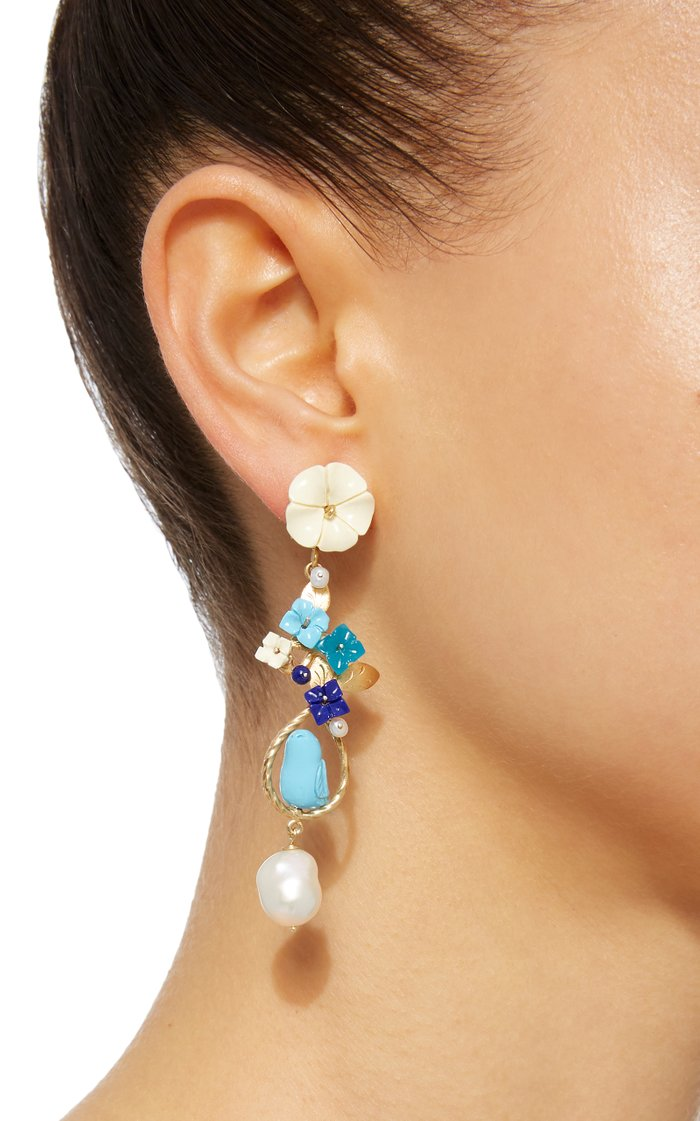 Exclusive: Mating Bird 18K Gold Multi-stone Earring