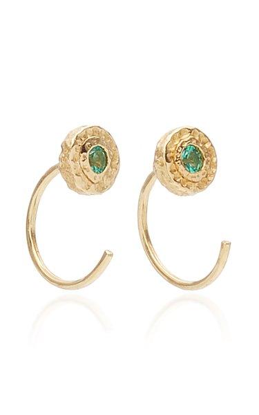18K Gold Emerald Earrings