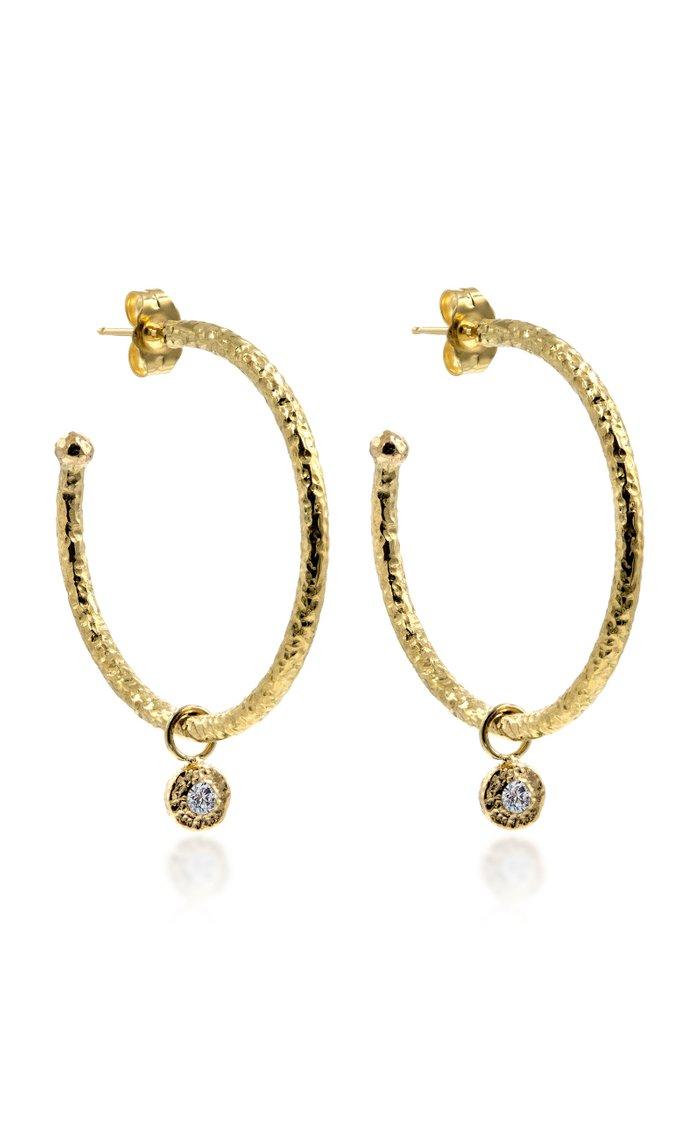 18K Gold Diamond Nesting Gem Hoop Earrings