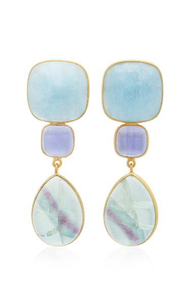 18K Gold, Lolith and Fluorite Earrings
