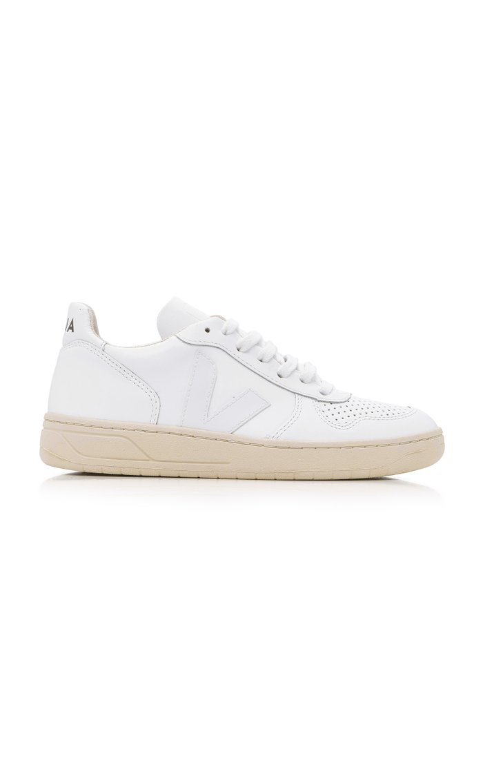 V10 White Leather Sneakers