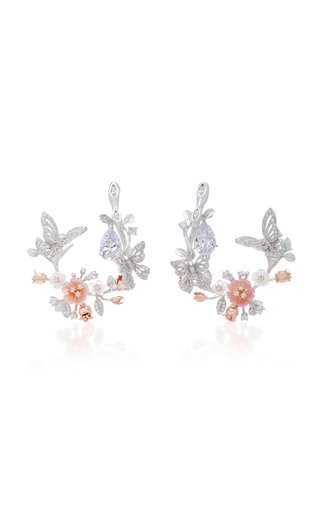 Exclusive 18K White Gold Butterfly Garland Earrings