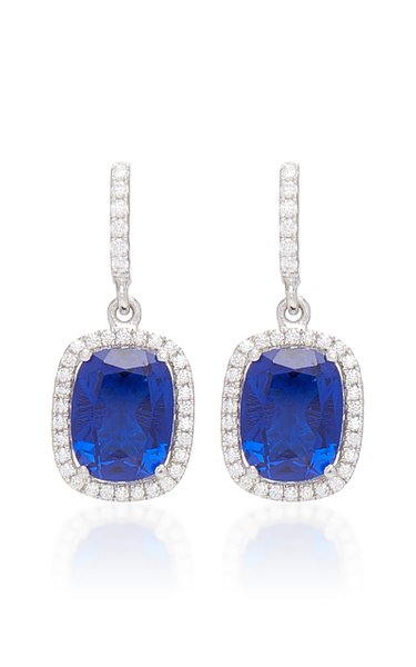 Comet 18K White Gold And Sapphire Drop Earrings