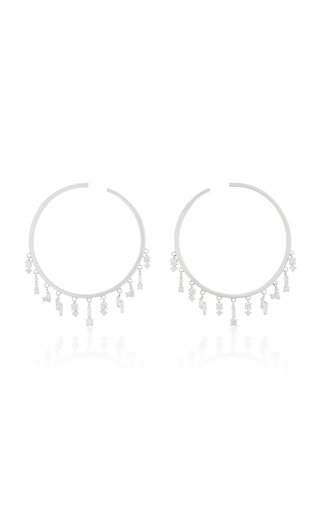 18K White Gold and Diamond Hoop Earrings