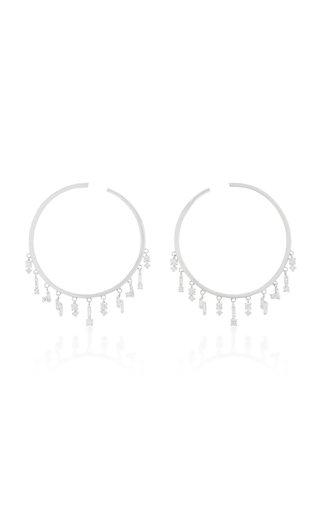 18K White Gold and Diamond Hoop Earrings